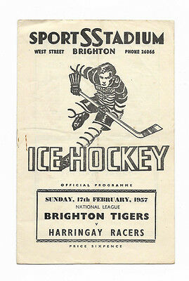 Ice Hockey Programme 17 February 1957 - BRIGHTON TIGERS v. HARRINGAY RACERS