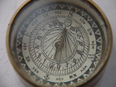 Excellent Antique Brass Pocket Floating Working Compass