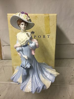 """COALPORT  LARGE FIGURINE . """" LADY SARA  """" Boxed FROM HIGH SOCIETY COLLECTION"""
