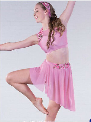 In Stock Gorgeous Pink Two Piece Lyrical Modern Contemporary Dress Dance Costume