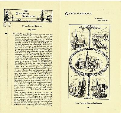 Glasgow Airdrie Bathgate 1922 small maps + route descr. Denny Stirling Dunblane