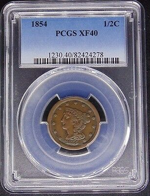 1854 Braided Hair Half Cent 1/2C Pcgs Certified Xf 40 Extra Fine (278)