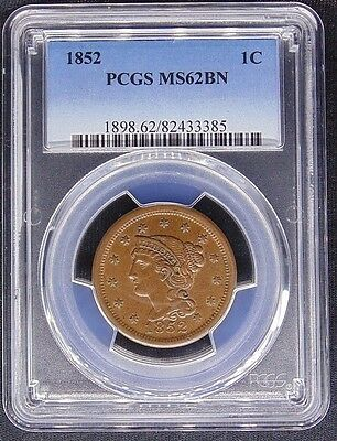 1852 Braided Hair Large Cent Pcgs Certified Ms 62 Bn Mint State Brown (385)