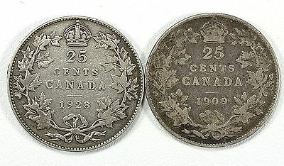 1909 & 1928   Canadian Quarters  In Nice Circulated Condition