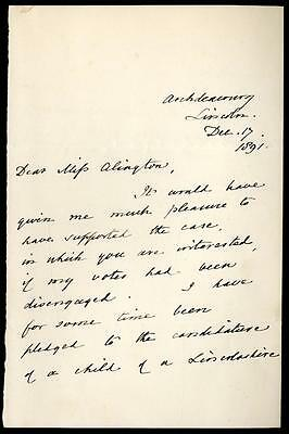 William F. John Kaye [1822-1913] Archdeacon Lincoln Signed Letter + Seal 1891