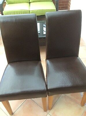 6 brown leather dining chairs