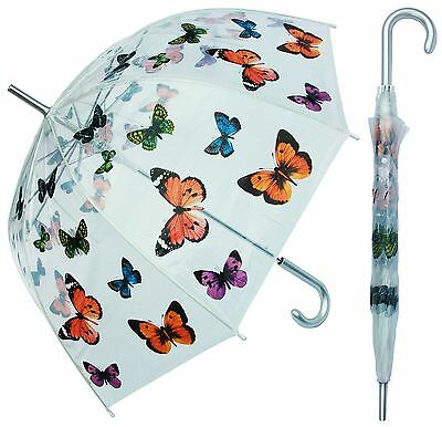 """46"""" Arc Clear Dome Style with Butterflies Umbrella - RainStoppers Rain Fashion"""