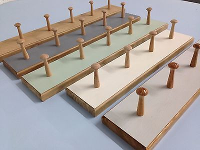 Shabby chic SOLID OAK shaker peg rail, vintage style wooden coat hooks rack