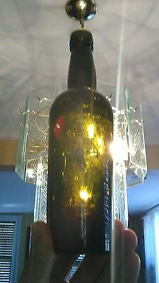 Antique Black Utility Glass Liquor Bottle Beauty  See Photos
