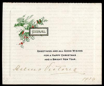 Princess Victoria Louise [1870-1948] Signed Small Christmas Greetings 1924