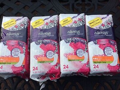 4 Always Discreet Bladder Protection Very Light Length Liners 24 ct ea 96 Total