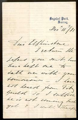 ARTHUR DUKE CONNAUGHT [1850-1942] SIGNED LETTER to LORD ELPHINSTONE 11/12/1881