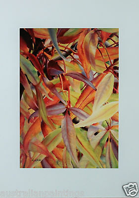 Anja Becker Autumn Leaves (1) Painting UNFRAMED ART PRINT A4 (Hand Signed)