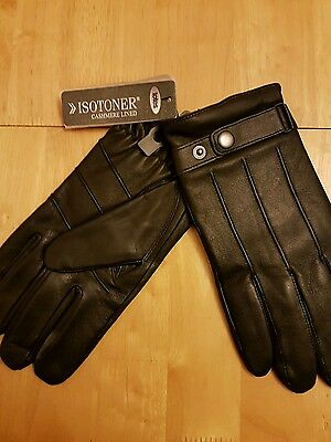 Totes isotoner black leather cashmere lined gloves size S/M