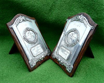 Pair Of Sterling Silver Mounted Prize Plaques From Raf Defford - 1948