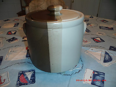 """Authentic Nelson Mccoy Sandstone Ceramic 7"""" x 7"""" Canister Jar # 1420"""