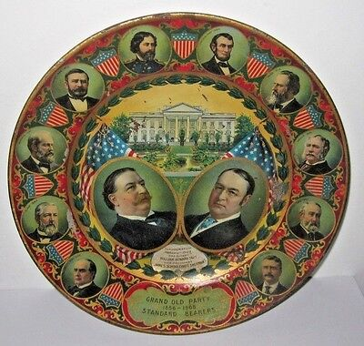 1908 Grand Old Party Tin Plate - William Taft & James Sherman 1909 Inauguration