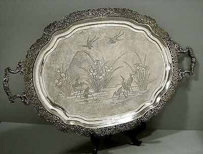 Chinese Export Silver Tray       CRANES w IRIS                     WH