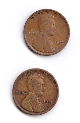 1912 [P] + 1912-D, Lincoln Wheat Cents/Pennies, Set of 2