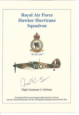 Battle of Britain Hawker Hurricane Pilot signed card