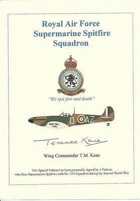 Battle of Britain Spitfire Pilot signed card