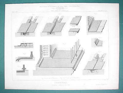 ARCHITECTURE PRINT 1866: ROOFS Roofing of Terraces Lead Sheet Metal Details