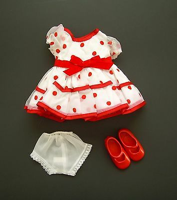 Mint Unused 1973 Ideal Shirley Temple Doll Red Polka Dot Dress Panty Shoes