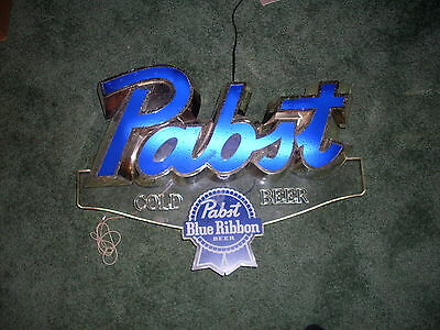 "1986 Pabst Blue Ribbon Beer ""Electric Script"" Edge Light Motion Bar Sign"