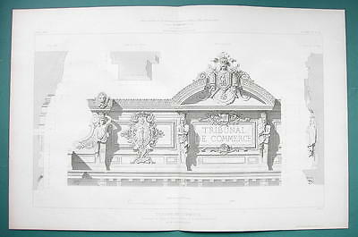ARCHITECTURE PRINT 1866: PARIS Tribunal fo Commerce Facade Details