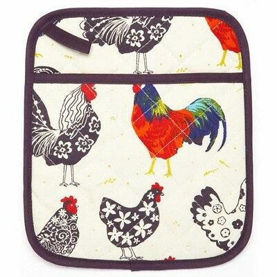 Chicken Farm Rooster Cockerel Pot Mitt~Quilted Cotton~Ulster Weavers~Free Pp Uk