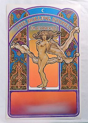 B790. THE ROLLING STONES IN CONCERT POSTER by David Byrd Tea Lautrec Litho 1969