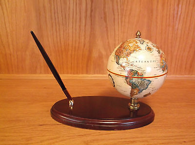 "Vintage Replogle 5"" World Globe Classic Series Executive Desk Pen Set"