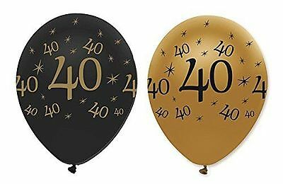 """40Th Birthday Party Black Gold 12"""" Age 40 Helium Latex Balloons Decoration X 6"""