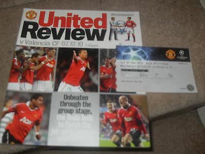 Manchester United v Valencia FC 7/12/10 Champions League Group Game 6 + Ticket