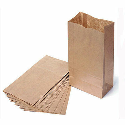 Brown Kraft Flat Block Bottom Paper Bag Heavy Duty - Party Loot Lunch Deli Gift