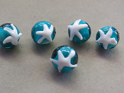5 Handmade Lampwork Teal White 12mm Glass Beads(K176A84)
