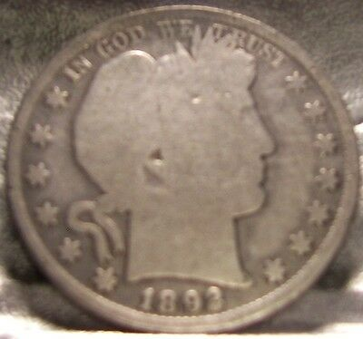 1892 P Barber Half  Dollar Silver Coin   Circulated  Free shipping