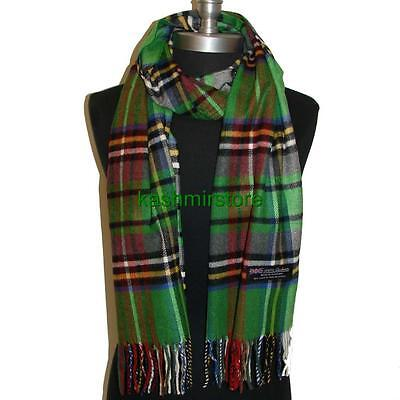 New 100% Cashmere Scarf Green Plaid Check Soft Wool Wrap Unisex Warm #P