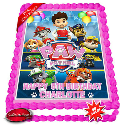 Paw Patrol Edible Icing Image Birthday Cake Personalised Decoration Party Topper