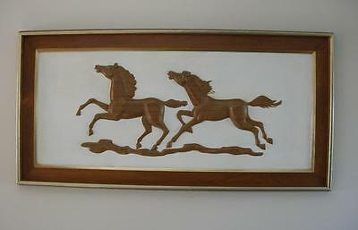 RARE Vintage  HORSES 3D Art TURNER Wall Accessory 46 x 23  Western Decor Stables