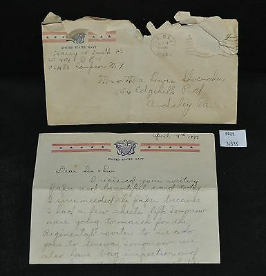 ThriftCHI ~ 1943 US Navy Letter Home To Sister Harry Smith PA