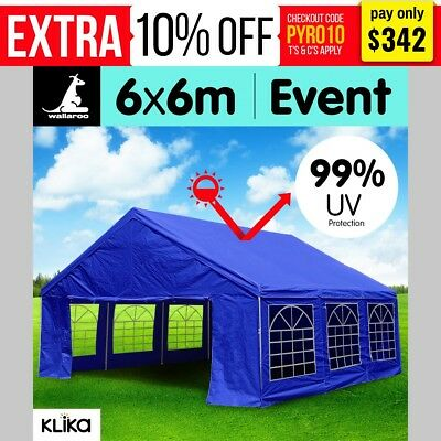 Blue 6x6 Gazebo Party Wedding Tent Event Marquee Outdoor Pavilion Canopy Shade