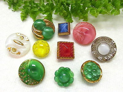 Nice Group Of Vintage Glass Moonglow Buttons Y49