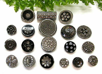 Sparkling Lot Of Victorian & Vtg. Silver Luster Glass Buttons Y68