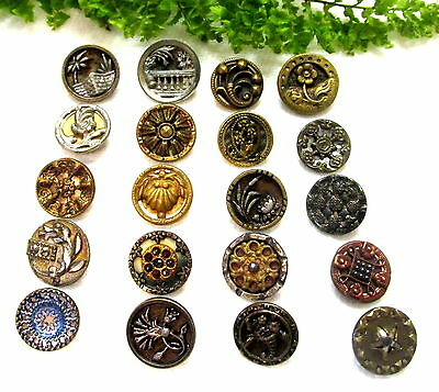 Lot Of 20 Small Victorian Metal Buttons With Different Designs Y71