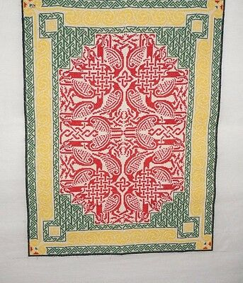 Vintage Needlepoint Tapestry Hand Embroidered Geometric Design One of a Kind