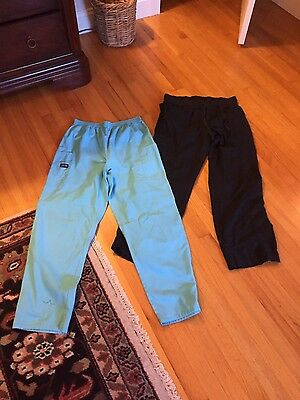 lot of 2 womens sz m scrub pants black and blue peaches cherokee pre owned
