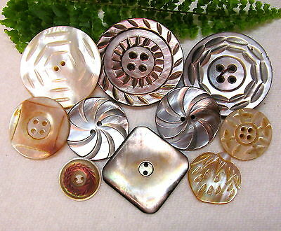 Lovely Lot Of Antique Carved Pearl Buttons W42