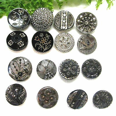 Lot Of 16 Victorian Silver Luster Glass Buttons W54