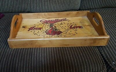 "Vtg Miller High Life (Woman Cresent Moon) Wooden 18x11"" tray ""Champagne .. Beer"""